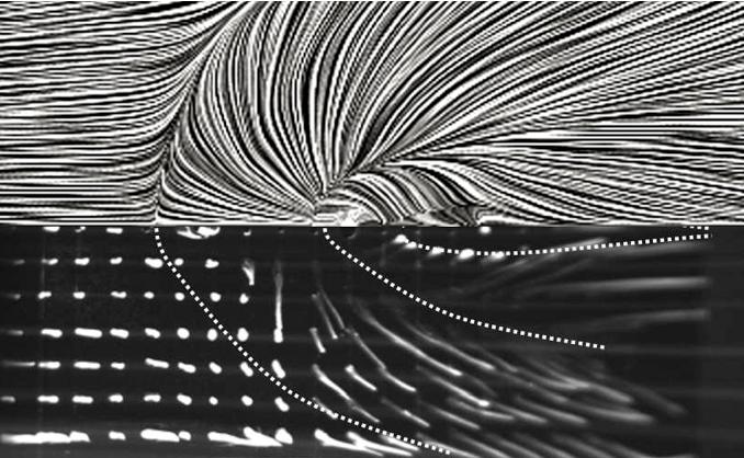 Лінії плівкової течії по твердій стінці в порівнянні з лініями поверхневої течії крапель у експерименті (конфігурація корпус – газовий струмінь)