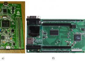 Відлагоджувальна плата (а) та  система керування (б) БРІ та ФКП на мікроконтролері STM32F407VGT6