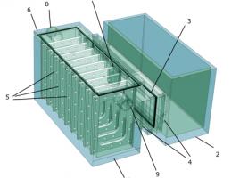 Схема проточного мікробного паливного елемента із замінними електродними блоками